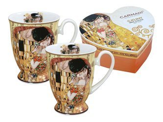 Komplet 2 kubków  w sercu Klimt THE KISS Carmani