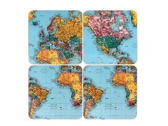Komplet 4 podkładek korkowych WORLD TRAVELLER