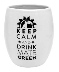 Matero ceramiczne Oval białe KEEP CALM AND DRINK MATE GREEN