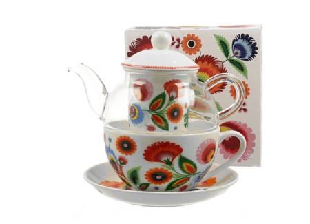 Zestaw TEA FOR ONE Filiżanka + Imbryk ŁOWICZ Duo
